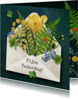 Fijne vaderdag, envelop gevuld met bloemen en planten