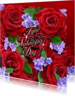 Fijne Valentijns Dag met rode rozen en sierlijke tekst