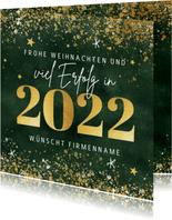 Firmen-Weihnachtskarte mit Jahreszahl in Goldlook