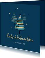 Firmen-Weihnachtskarte Weihnachtsbäume Goldakzente