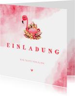 Flamingo-Einladungskarte zur Taufe mit Foto innen