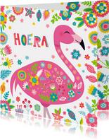Flamingo verjaardagskaart met bloemen