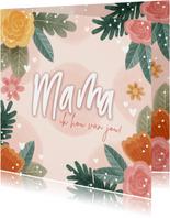 Fleurige moederdag kaart met bloemen en hartjes