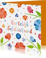 Fleurige verjaardagskaart met vogels en bloemen