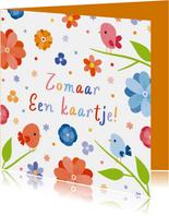 Fleurige zomaar kaart met vogels en bloemen