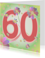 Verjaardagskaarten - flowerpower-60jaar