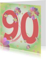 Verjaardagskaarten - flowerpower-90jaar