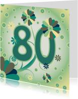 Verjaardagskaarten - flowerpower2 80 jaar