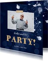 Foto-Einladungskarte zur Party dunkelblau