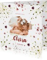 Foto geboortekaartje bloemen weelde voor meisje