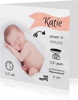 Foto geboortekaartje met illustraties