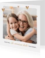 Foto-Grußkarte mit Herzen 'Liebe Oma'