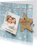 Foto kerstkaart blauw ster