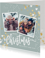 Foto kerstkaart gouden hartjes en sneeuw