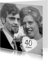 Foto uitnodiging 40 jaar getrouwd met wolk hart