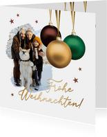 Foto-Weihnachtskarte drei Weihnachtskugeln