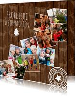 Foto-Weihnachtskarte mit 10 Fotos auf Holz