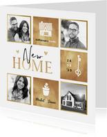 Fotocollage gouden vakken hartjes huis sleutel plant