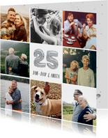 Fotocollage huwelijksjubileum kaart met zilveren 25 ballon