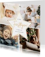 Fotocollage kerstkaart met 4 eigen foto's en gouden ster