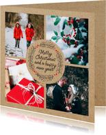 Fotocollage kerstkaart met kerstgroet en kraft