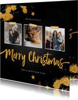 Fotocollage Merry Christmas krijtbord met goud