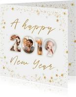Fotocollage nieuwjaarskaart 2019 goudlook met sterren kader