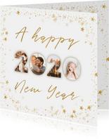 Fotocollage nieuwjaarskaart 2020 goudlook met sterren kader