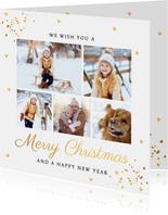 Fotocollage wit goud confetti kerstkaart