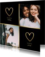 Fotokaart 2 foto's met gouden hartjes