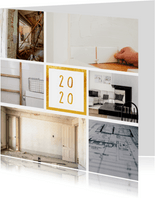 Fotokaart '2020' met 6 foto's vierkant