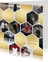 Fotokaart collage geometrische vlakken honingraat