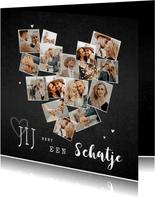 Fotokaart collage hart krijt hip met veel foto's