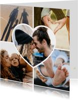 Fotokaart collage liefde met 4 foto's en een hartjes foto