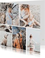 Fotokaart collage met 5 foto's vierkant
