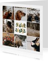 Fotokaart collage XMAS goud met bladeren