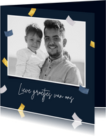 Fotokaart confetti en 1 grote foto
