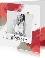 Fotokaart felicitatie vrouw verf hartjes foto