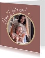 Fotokaart foto hartjes goud oma i love you