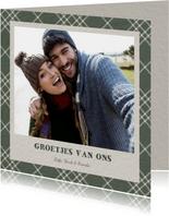 Fotokaart groen ruitpatroon met polaroid foto