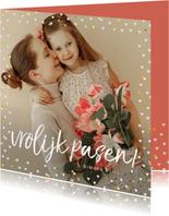 Fotokaarten - Fotokaart grote foto vrolijk pasen hartjes