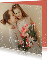 Fotokaart grote foto vrolijk pasen hartjes
