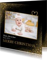 Fotokaart in kerstsfeer met goud en merry christmas
