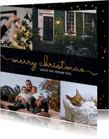 fotokaart kerst donkere achtergrond met sierlijke letters