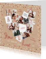 Fotokaart kerst hartjes zuurstokken hart liefde