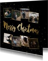 Fotokaart kerstcollage sterren goudaccent