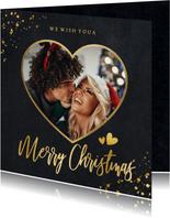 Fotokaart kerstkaart zwart met gouden hart met foto