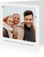 fotokaart merry christmas kalligrafie foto hartjes goud