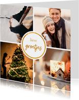 Fotokaart met 4 foto's vierkant 'Fijne kerst'