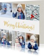 Fotokaart met kerstcollage met 6 foto's en goud